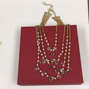 Layered Vintage Pearl Crystal Necklace